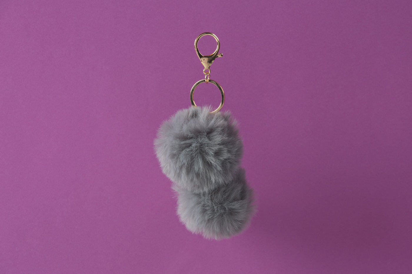 Pom Pom Keychain in Gray Faux Fur