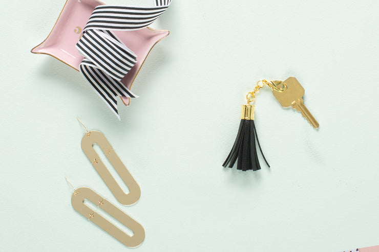 Tassel Keychain in Black Noir Faux Leather