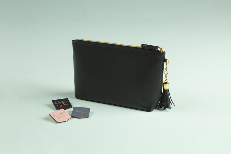 Accessories Bag in Black Noir Faux Leather