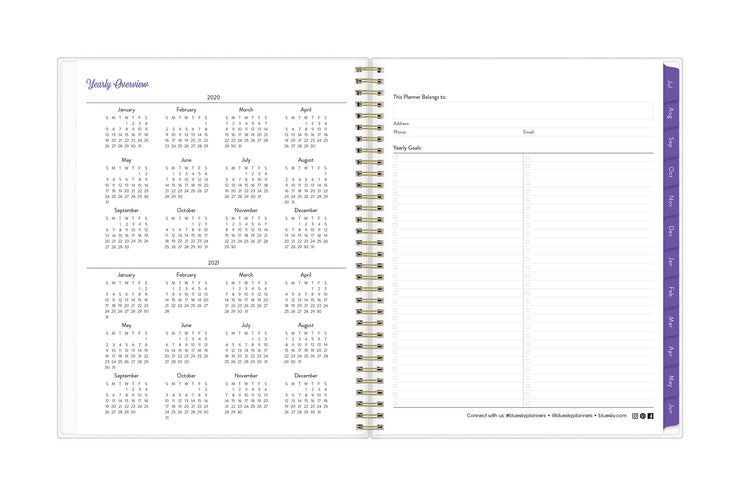 2020-21 weekly planner in 8.5x11 with the academic year reference calendar and check boxes for yearly goals and to do's