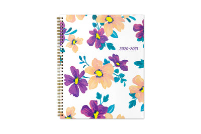 Blue Sky Preppy floral purple design front cover in 8.5x11 size with gold twin wire-o binding for 2020-21