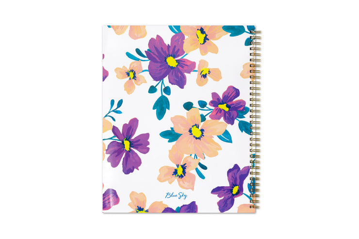 Blue Sky preppy purple florals with white background for the back cover in 8.5x11 Blue Sky planner
