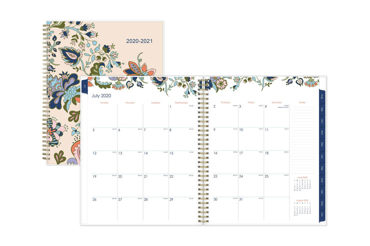 July 2020 monthly calendar spread without lines for personalized dates and a notes section