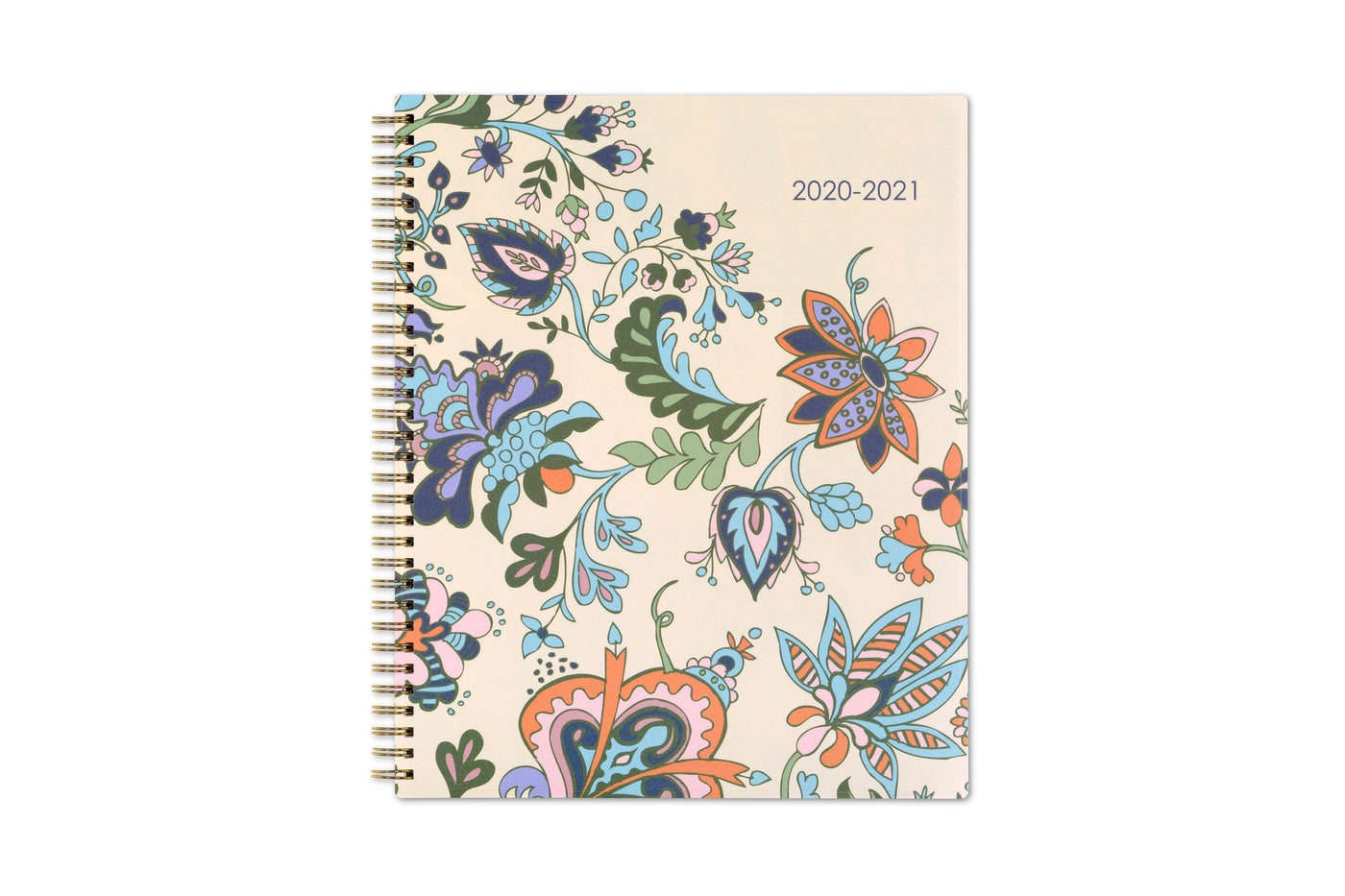 Blue Sky 2020-21 multi-colored flowers for the front cover with gold twin wire-o binding