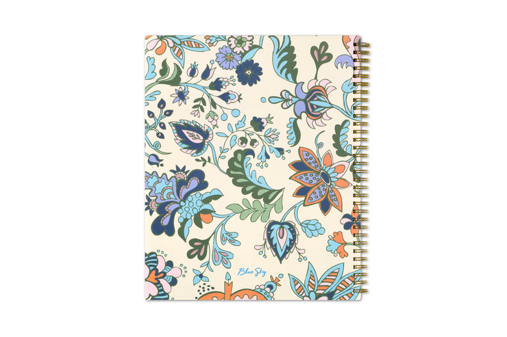 Flowers, plants, and leaves for the back cover design and gold twin wire-o binding for the 2020-21 Blue Sky weekly planner