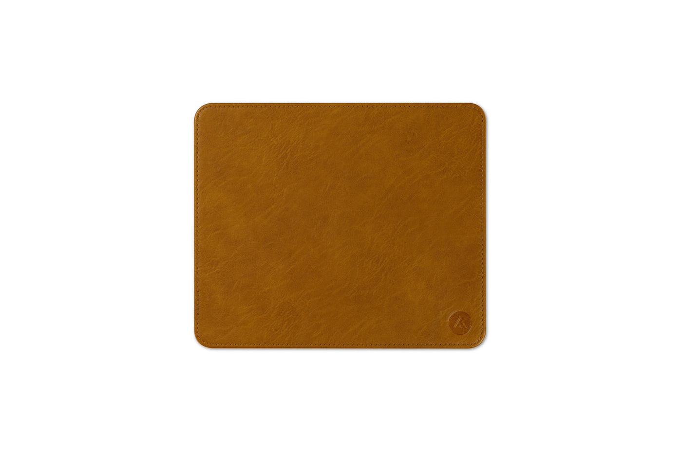 ASMBLD blue sky mousepad in faux brown leather, stitched mousepad