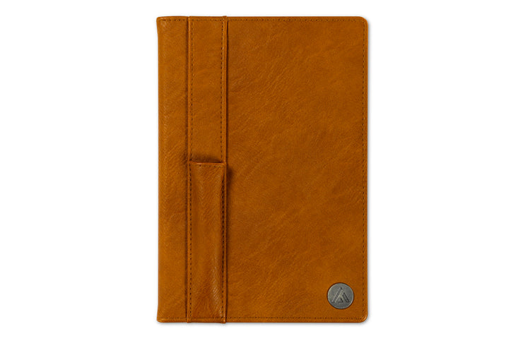 brown leather notebook, storage pockets with stitching