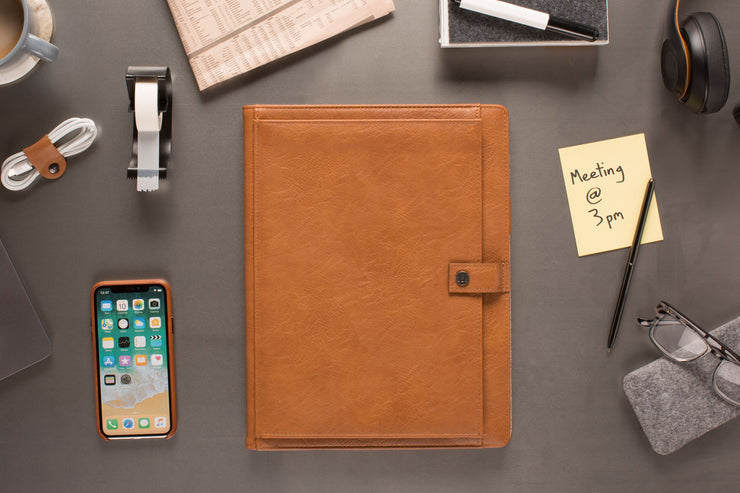 brown leather padfolio for professional with lined notepad, grid notes pages, and storage pockets