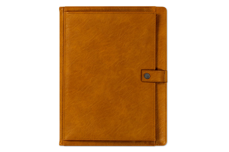 leather padfolio with button closure and front storage pocket