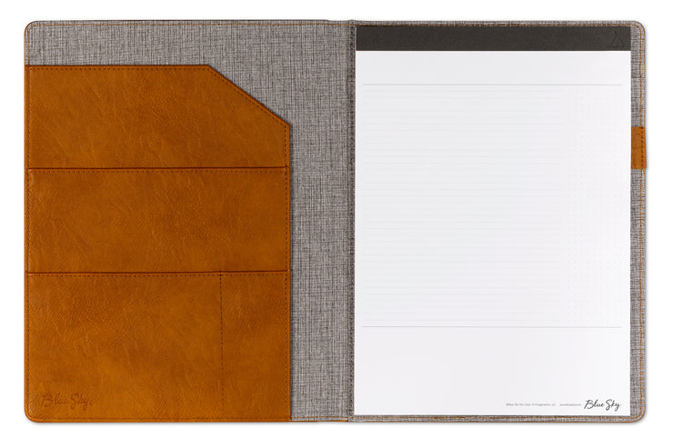 leather padfolio and notepad with gridlines and notes pages, sotrage pockets and document holder