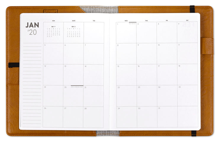 ASMBLD 2020 monthly leather planner, January to December, monthly view