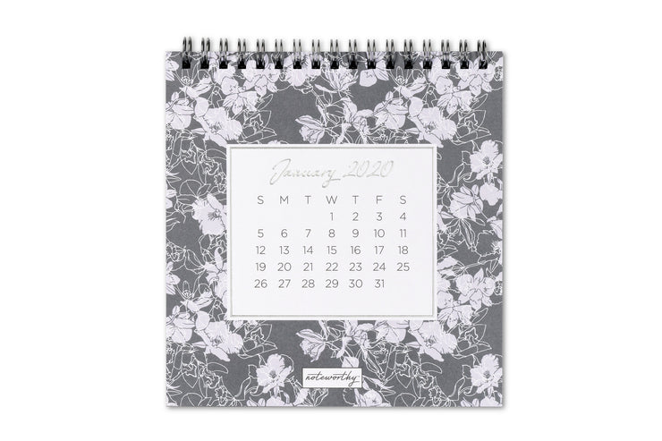 "2020 Desk Calendar Noteworthy™ ""Tallulah Grey"""