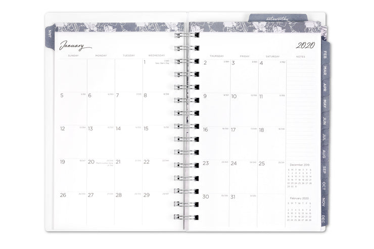 noteworthy planner for 2020, weekly/monthly view and floral cover
