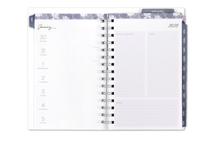 2020 planner and notebook with weekly and monthly views and notes pages 5x8