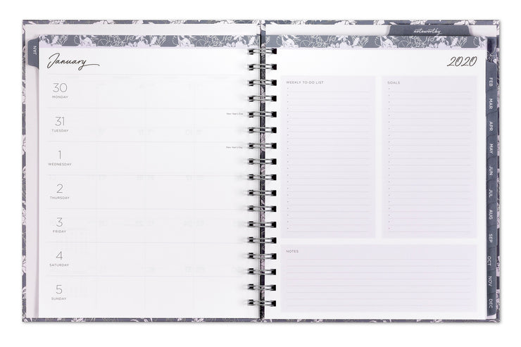 2020 planner and notebook with weekly and monthly views and notes pages 7x9