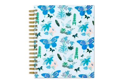 2020 daily planner with butterfly designs, light blue cover