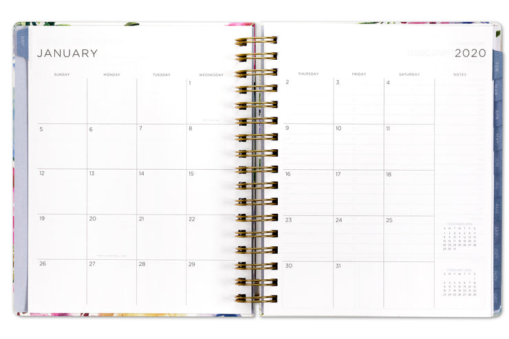 2020 floral planner with daily pages and monthly views