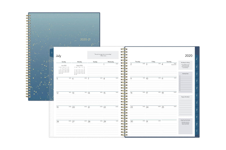 student planner for July 2020 with a monthly spread featuring off-white background with lines notes section, monthly goals and projects.