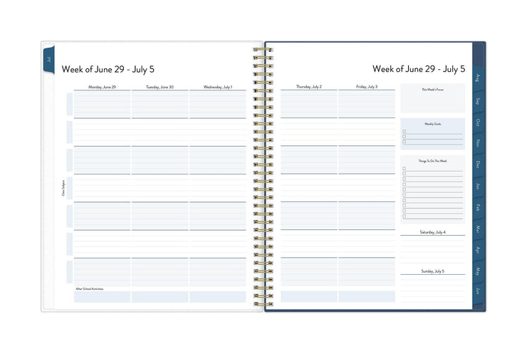 July 2020 weekly spread with rows for class subjects and columns for the weeks dates included goals and to-do lists.