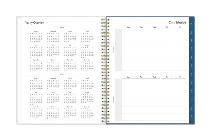 academic reference calendar for 2020-2021 on left page and a student's class schedule on right page