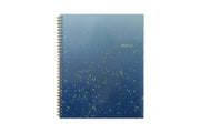 2020-21 student planner featuring a blue background palette with gold splotches