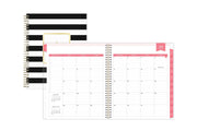 black stripes cover and dark pink monthly tabs in monthly view 2020-2021