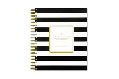 day designer daily planner in 8x10 and black stripes