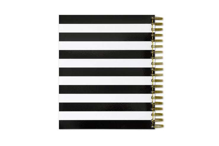 day designer black stripe back cover daily planner in 8x10