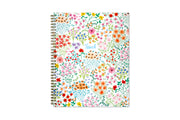 Endless flowers with stems and leaves displayed on front cover with the word Teach at the center for this teacher planner