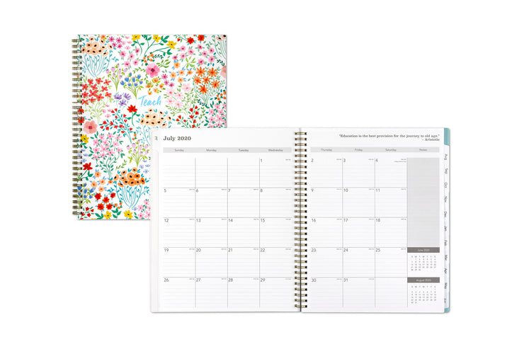 Blue Sky's Annie teach lesson planner featuring a July 2020 monthly spread view with notes section and reference calendar