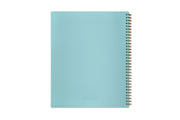Blue Sky's teacher planner in Annie design with a mint or light blue solid back cover with silver twin wire-o binding