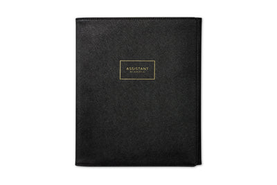 assistant by Ashley G, black trifold portfolio.