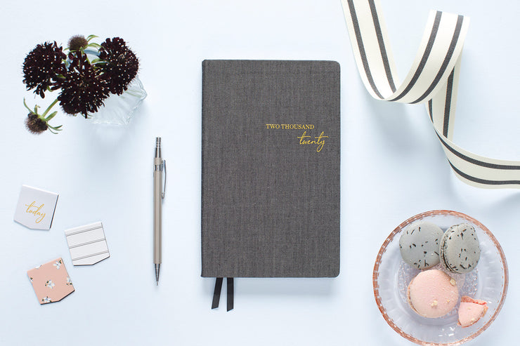 "2020 Weekly Planner by cupcakes and cashmere ""Black Fabric"" 5 x 8"