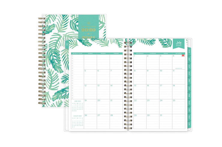 july 2020-21 monthly spread in 5x8 size featuring notes and to-do lists, mint borders and monthly tabs.