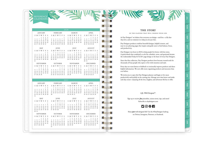 2020-2021 reference calendar for the academic school year on left page and day designer brand's story on right page.
