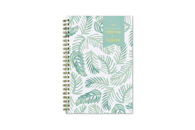 2020-2021 dated weekly planner by day designer with palms leaves design in mint for front cover