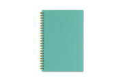 5x8 flexible back cover in mint color with gold twin wire-o binding