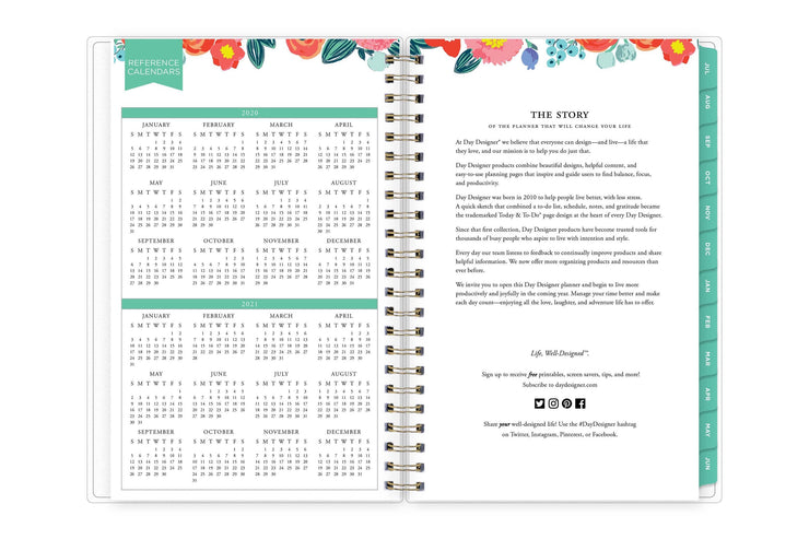 day designer brand's story on right page and a 2020-2021 reference calendar on left page.