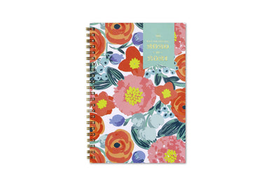 2020-2021 weekly planner in 5x8 size with floral front cover and gold twin wire-o binding