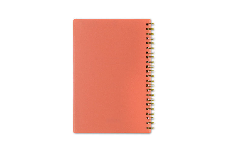 5x8 weekly planner with gold twin wire-o binding and flexible, magenta back cover