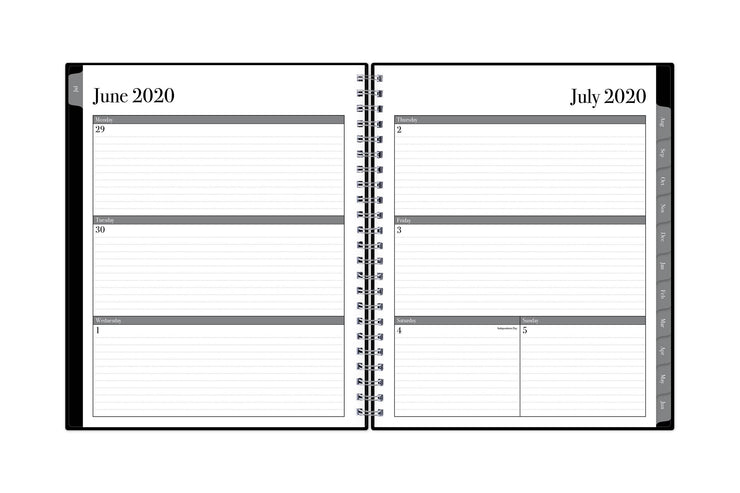 Blue Sky professional planner featuring a July 2020 weekly spread with linted notes and grey borders and monthly tabs