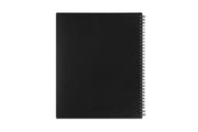 A professional planner by Blue Sky in 7x9 size with a solid black back cover and silver twin wire-o binding