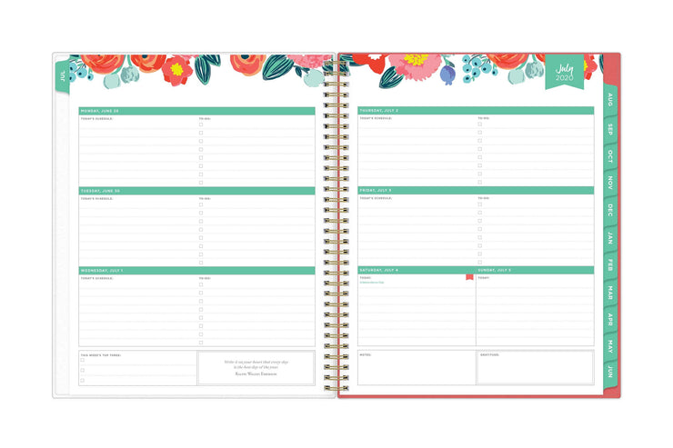 2020 july weekly planner spread with lined writing space, to-do lists, top three weekly tasks and mint borders.