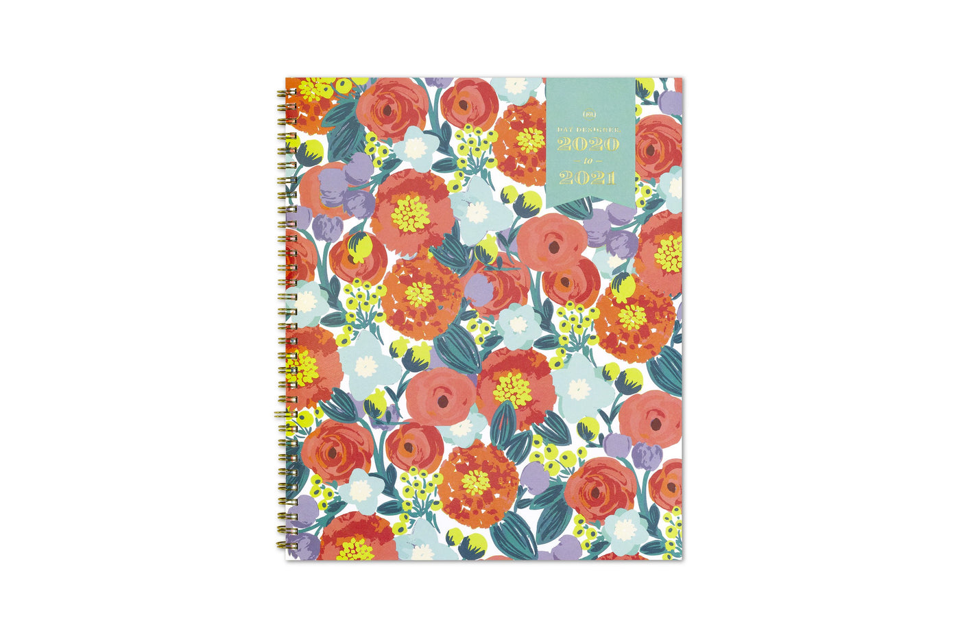 july 2020 - june 2021 weekly planner with orange yellow and pink floral patterns on front cover.