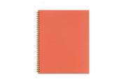 8.5x11 size back cover in matte pink orange with gold twin wire-o binding