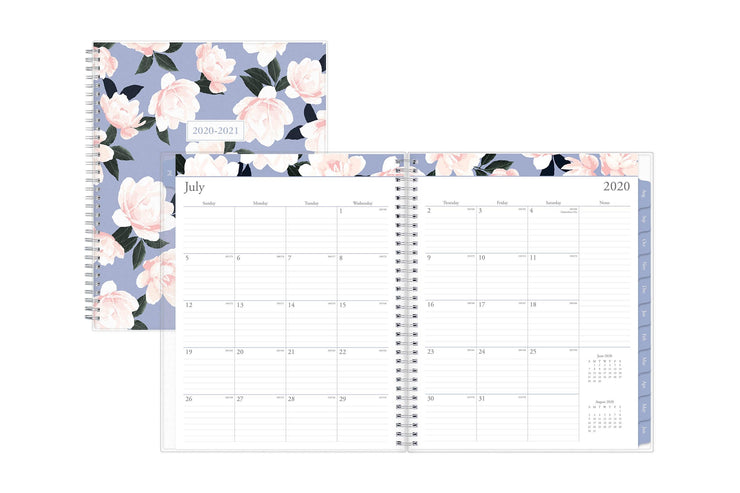 Blue Sky academic planner featuring July 2020 monthly spread with lined space and notes section