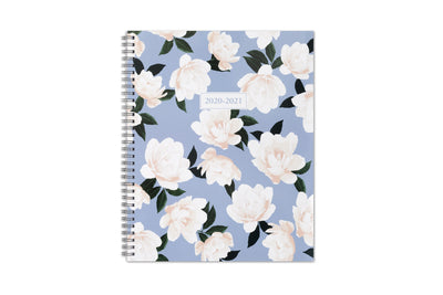 Blue Sky 8.5x11 academic planner for 2020-21 with white flowers and light blue background front cover