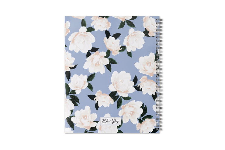 Blue Sky's 2020-21 planner with a light blue background and white flowers for the front cover design