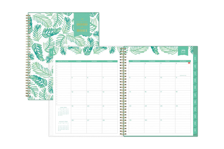 july 2020 monthly spread with mint borders, tabs, and to-do list section