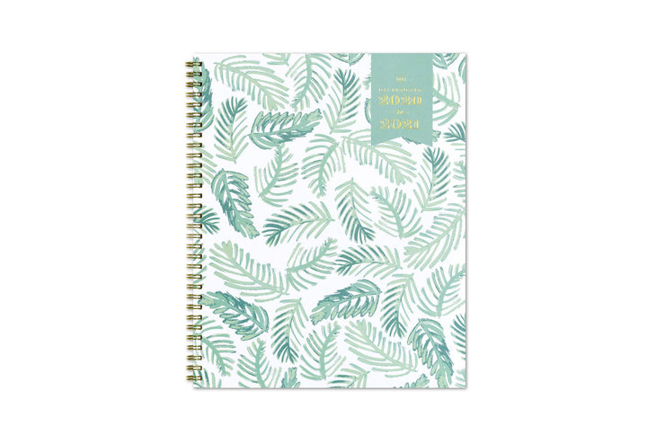 2020-2021 weekly planner with palm leaves front cover design and gold twin wire-o